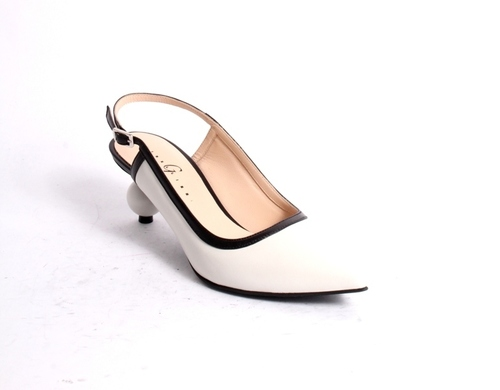 White / Black Leather Pointy Slingback Sandals