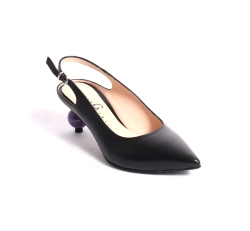 Black / Purple Leather Pointy Slingback Heel Sandals