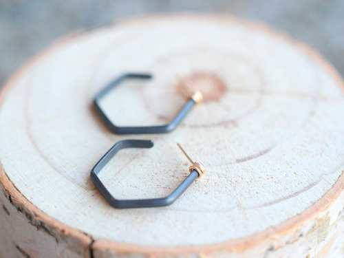 Apiary Hoops Oxidized Silver Gold Fill