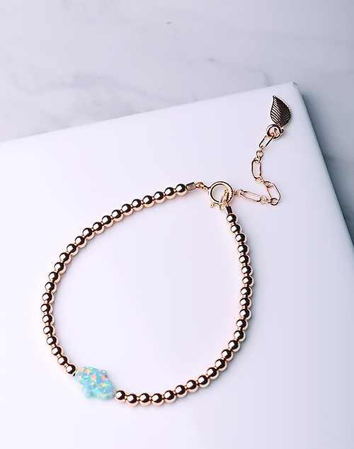 Hamsa Hand Sea Green Opal Bracelet-14K Gold Filled