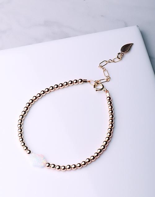 Hamsa Hand White Opal Bracelet-14K Gold Filled