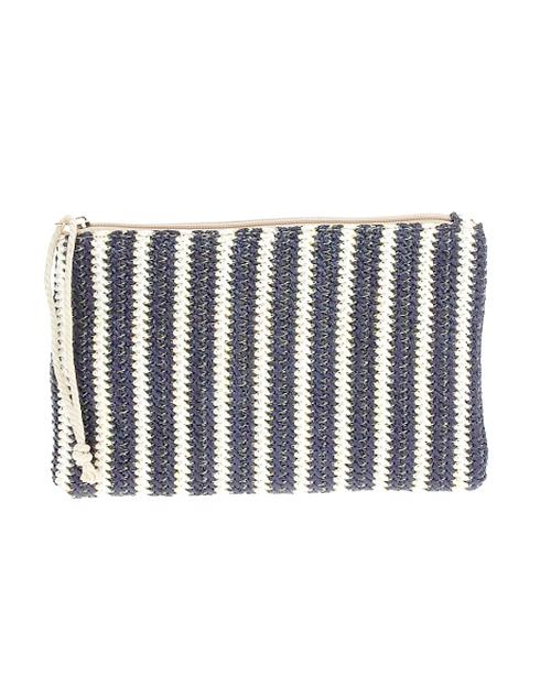 Stripe Crossbody Straw Clutch - Navy