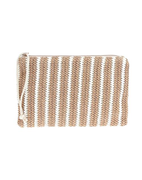 Stripe Crossbody Straw Clutch - Tan