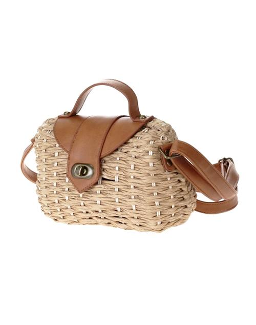 Straw Hardbody Box Bag - Tan