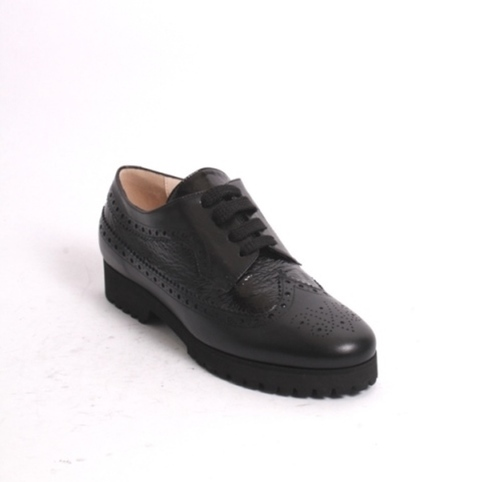 Black Leather / Patent Leather Lace-Up Loafers Comfort Shoe