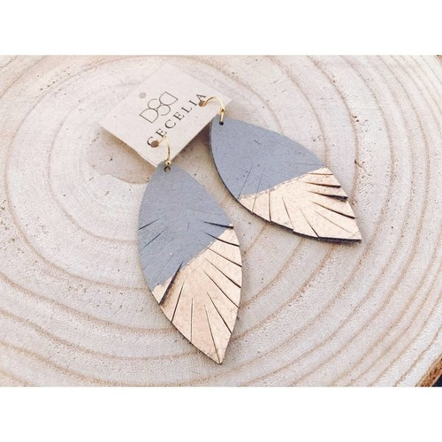 Cecelia Grey Painted Feather Leather Earrings