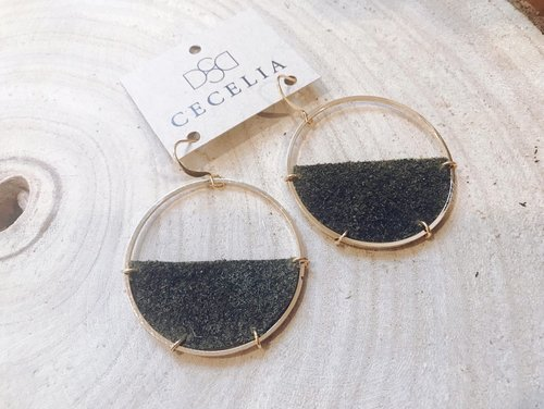 Cecelia Black Sugar Half Moon Leather Earrings
