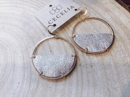 Cecelia Champagne Half Moon Leather Earrings