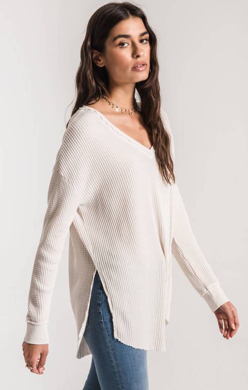 The Champagne Mist Waffle Thermal Tunic Top