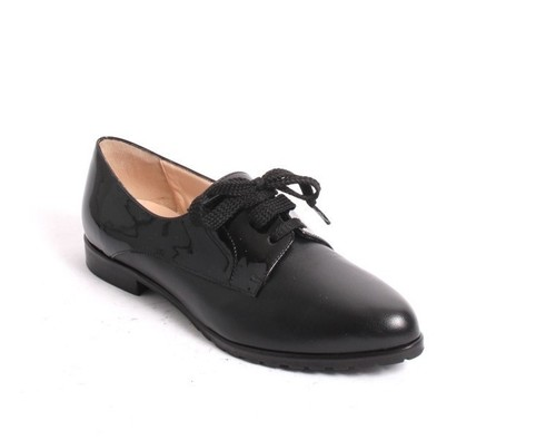 Black Leather Patent Lace-Up Loafers Comfort Shoes