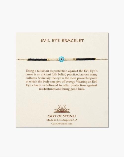 Glass Bead Evil Eye Bracelet - Turquoise W/White