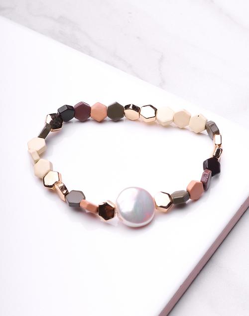 Hex & Pearl Neutral Bracelet