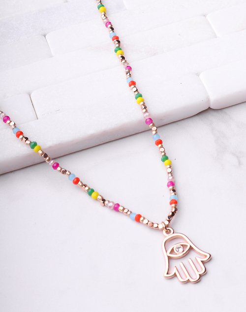 Colorful Beaded Hamsa Necklace