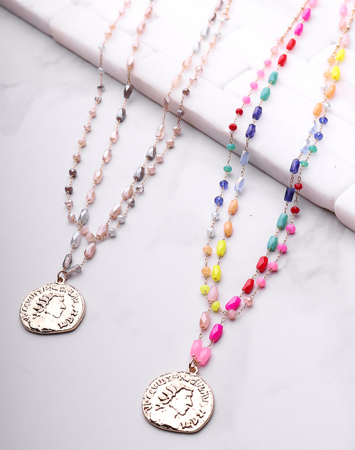 Gold Coin Beaded Necklace
