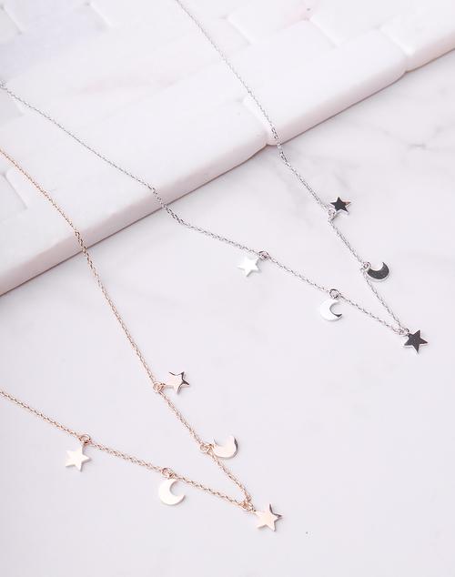 Moon & Stars Dainty Necklace