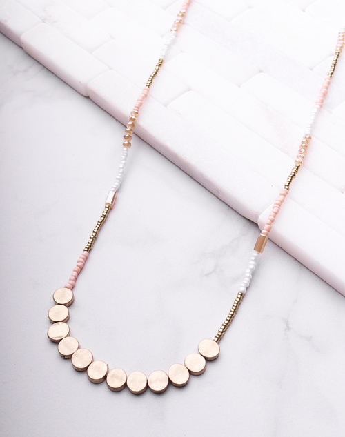 Pink Beaded Long Necklace
