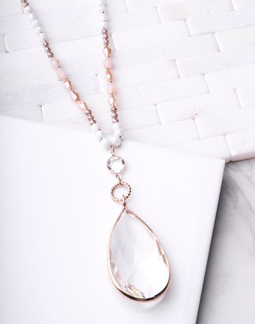 Long Beaded Crystal Pendant Necklace