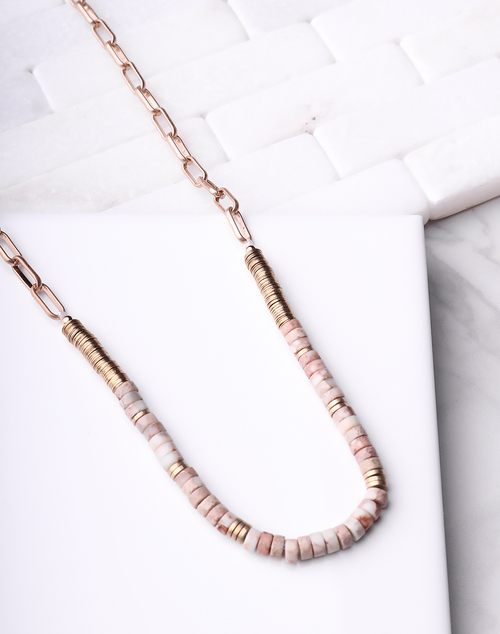 Natural & Gold Beaded Necklace
