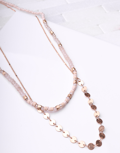 Natural & Disc Layered Necklace