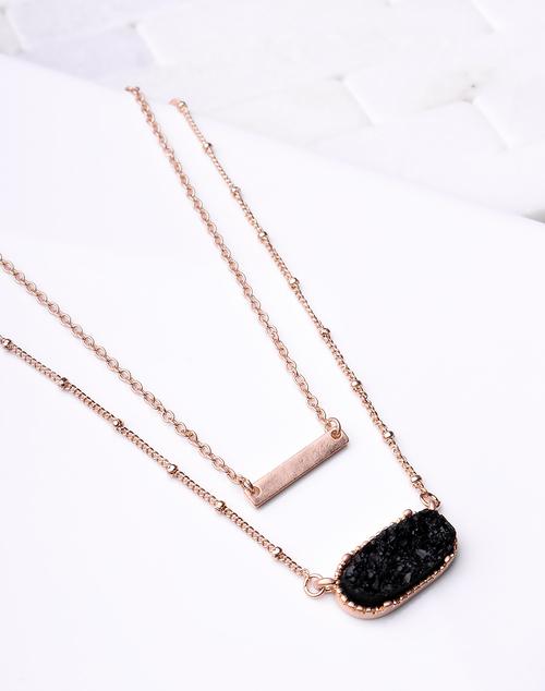 Oval Black Druzy Necklace