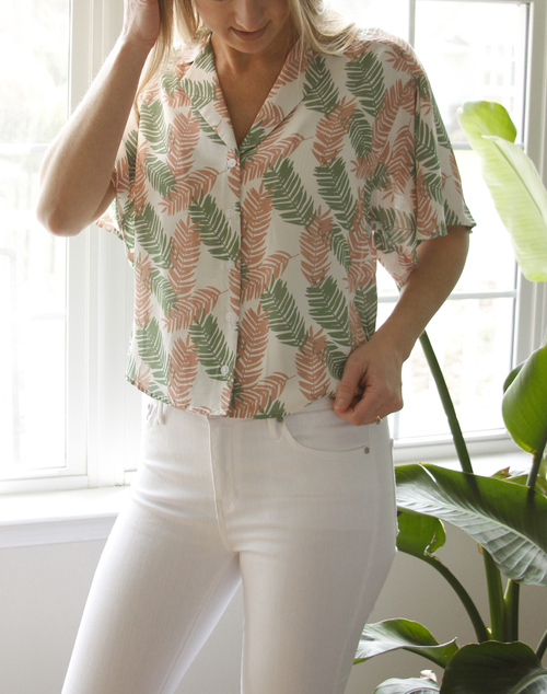 The Palms Cropped Vacay Button Down