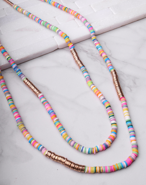 Bright Layered Disc Necklace
