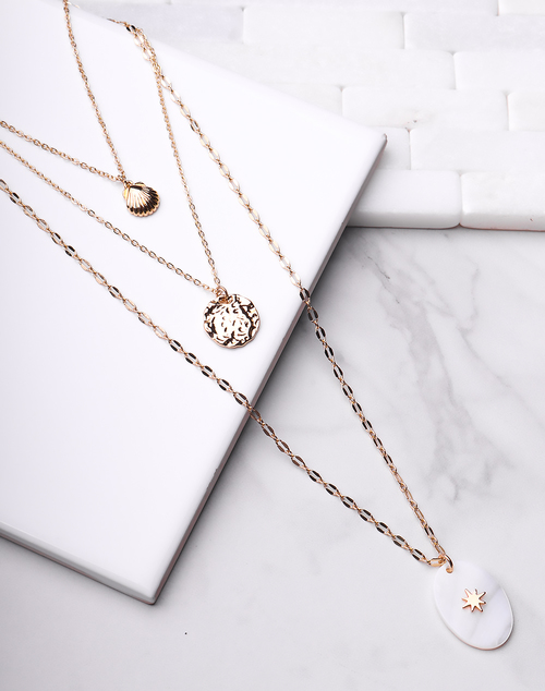 Layered Gold Chain Seashell Necklace