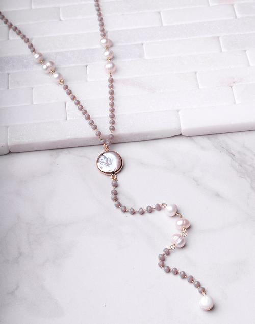Grey Pearl Lariat Necklace