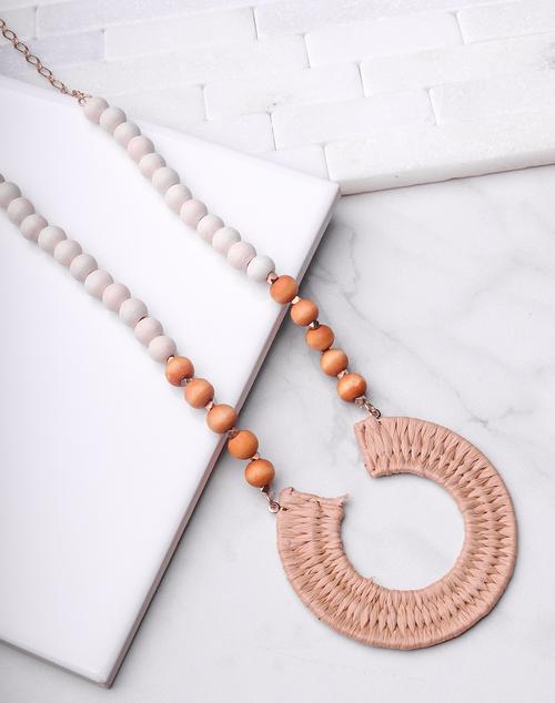 Woven U Beaded Long Necklace