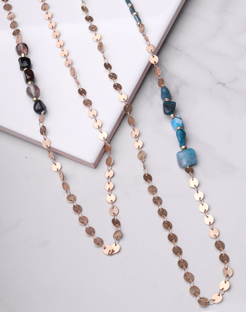 Gold Disc & Stone Long Necklace