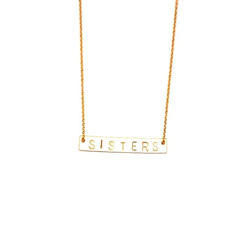 SISTERS Stamped Bar Necklace