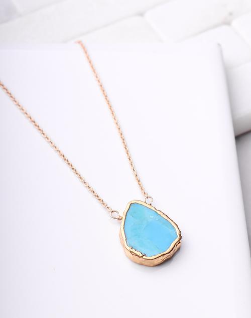 Turquoise Slice Necklace - 14K Gold Filled