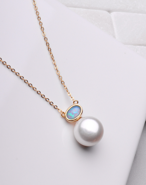 Pearl & Opal Pendant Necklace
