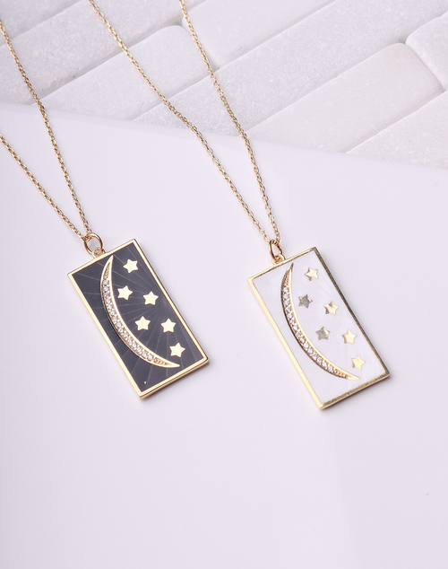 Moon & Star Enamel Necklace