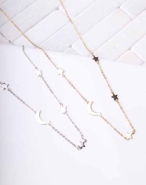 Moon & Star Link Necklace