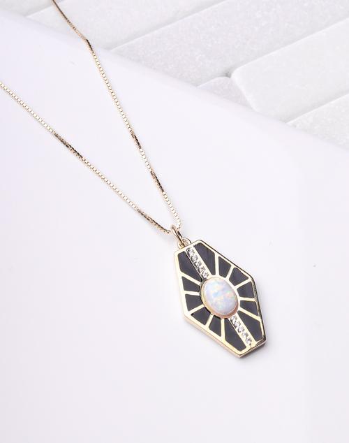 Opal Black Enamel Burst Necklace