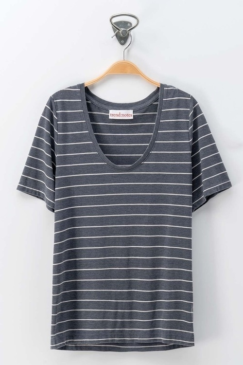 Navy Striped Scoop Neck Short Sleeve Tee