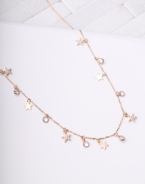 Star & Bezel Drops Necklace
