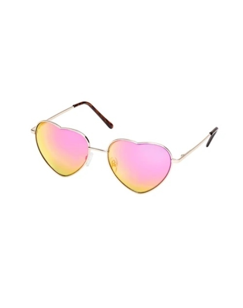 Heart Eyes Collection Gold Pink Sunglasses