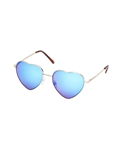 Heart Eyes Collection Gold Blue Sunglasses