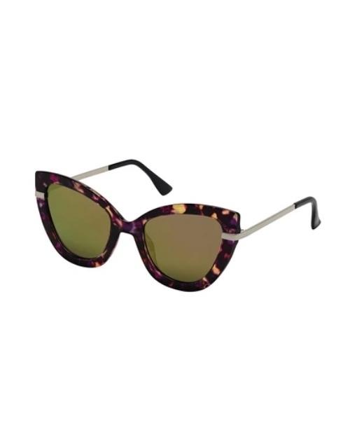 Cat Eye Purple Tortoise Purple Mirror Sunglasses