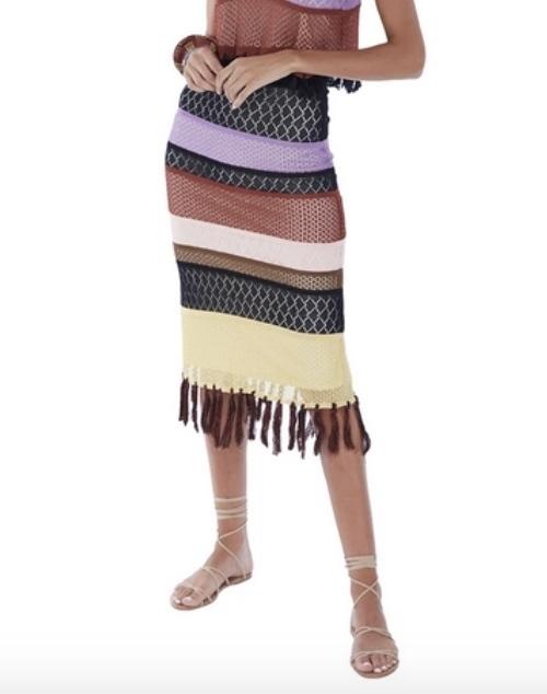 Gypsy Fringe Stripe Skirt