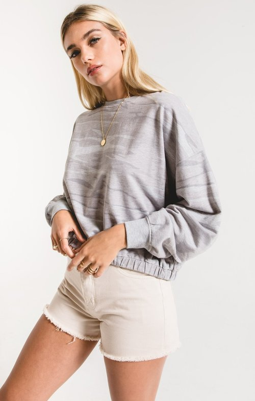 Z Supply ZT201120 CAMO RELAXED PULLOVER HEATHER GREY