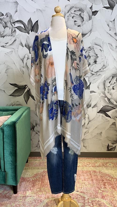 Metallic Blue Floral Kimono