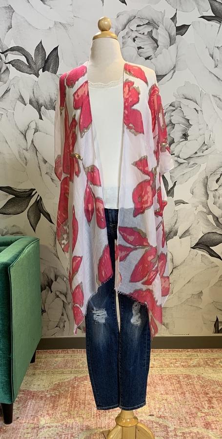 Metallic Pink Floral Kimono