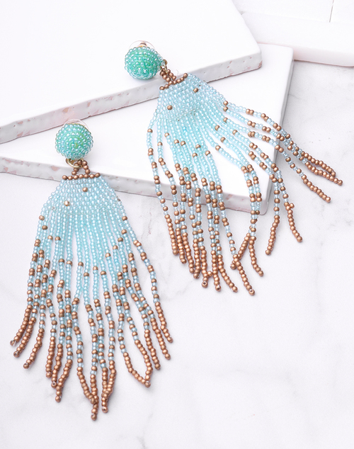 Twotone Bead Tassel Dangle