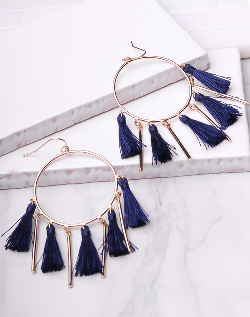 Multi Tassel & Bar Circle Dangle