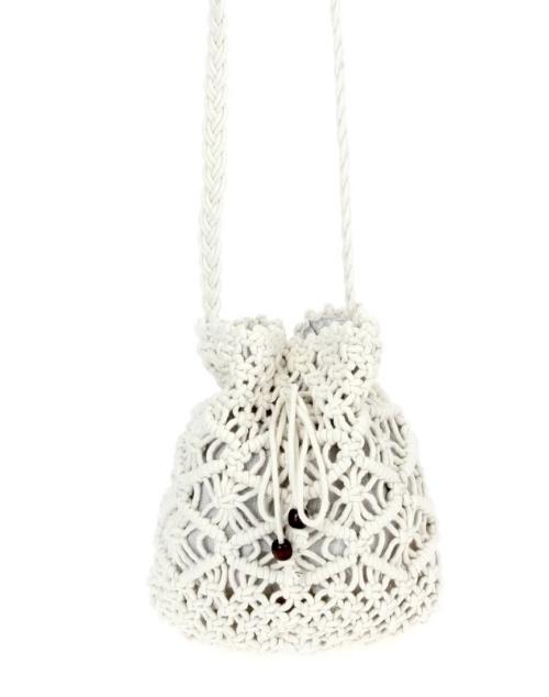 Crochet Crossbody Bucket Bag - White