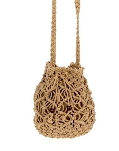 Crochet Crossbody Bucket Bag - Natural