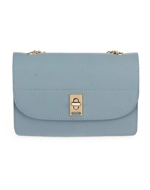 Turnlock Crossbody Shoulder Chain Bag - Light Blue